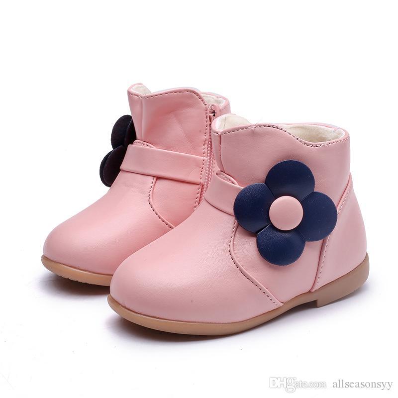 Chilren Sneakers 2018 Nuevas Flores de Moda Negro Rosa Botas Altas de Cuero Princesa de Cuero para Niños Zapatos para Niña