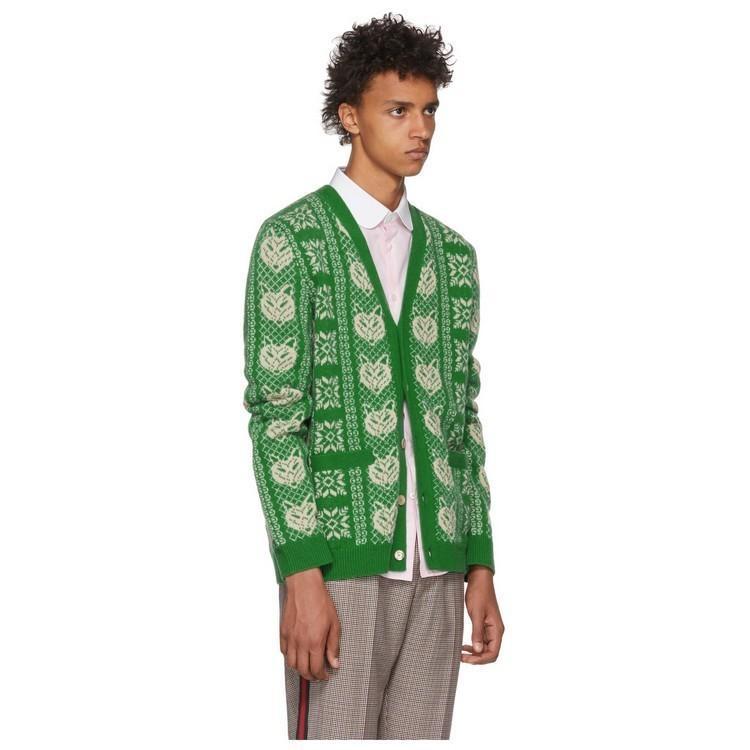 c9f8e5c6e Compre 18SS Verde Rhombic Jacquard De Lã Casaco De Malha De Floco De Neve  Abstrato Fox Padrão Com Decote Em V Cardigan De Alta Qualidade Homem E  Camisola ...