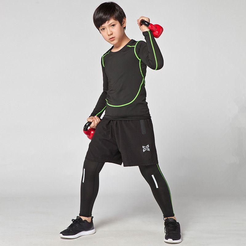 Sportlegging Kids.2019 Kids Compression Running Sets Suits Children Sweatpants Fitness
