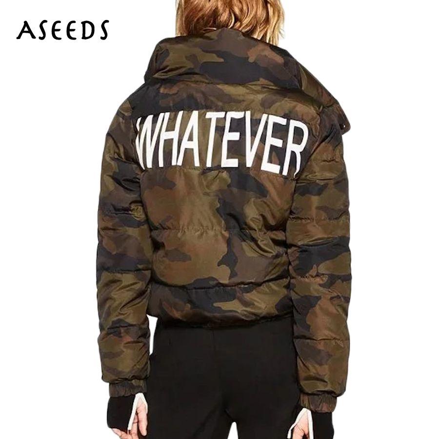 online store 09976 7223d Camouflage Winterjacke Frauen warme Mäntel Buchstaben drucken dicke  Baumwolle gepolstert lässig Parka Damen Outwear 2017 neu