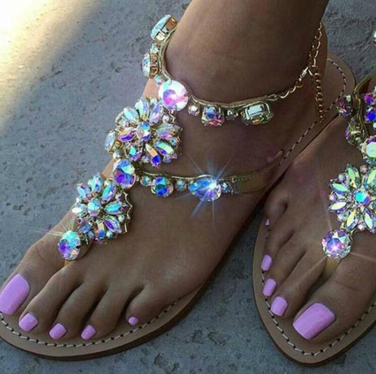 Sandalias Talla Cadenas Planas Tenis Feminino Zapatos Mujer Tanga 46 Grande Rhinestones Cristal Gladiador Chaussure De qzVMpSU