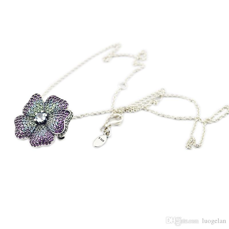 Compatible with Pandora jewelry 925 Sterling Silver Pendants Glorious Bloom Necklace For Women Original Fashion Pendant Charms Jewelry