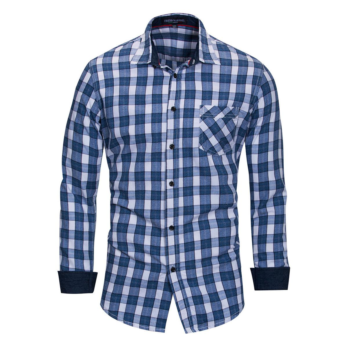 b2e2efd976 2019 Fredd Marshall Shirt Male Plaid Pocket Mens Clothes Casua Slim Fit Men  Long Sleeve Shirts Mens Social European Plus Size M 3XL From Honey333