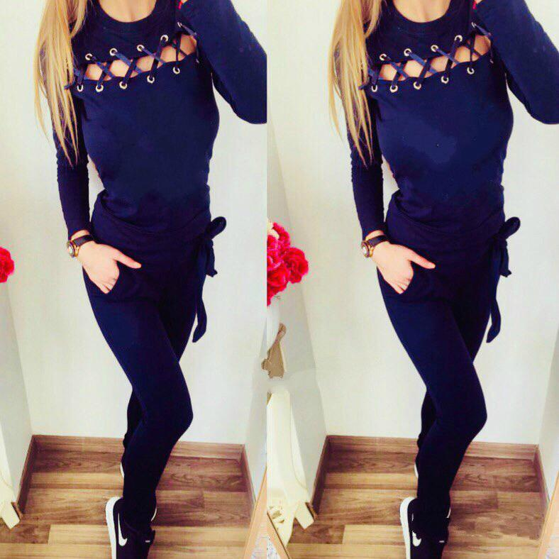 Women Sexy Hollow Out Tracksuit Long Sleeve Top + Pants 2 Piece Set Autumn Winter Design Casual Tracksuits Sweatsuits Clothes