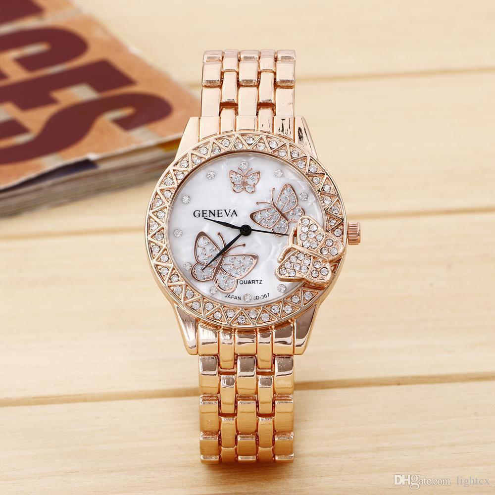 762d524e78c Compre Moda Genebra Casual Relógios De Ouro Diamante Requintado De Luxo  Mulheres Homem De Cristal Borboleta Relógio De Quartzo Relógio De Pulso De  Lightcx