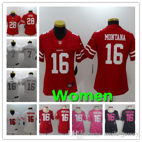 premium selection a1cc0 a2af0 New Women 16 Joe Montana San Francisco Jersey 49ers Football Jersey 28  Jerick McKinnon 7 Colin Kaepernick Stitched Women Football Shirt