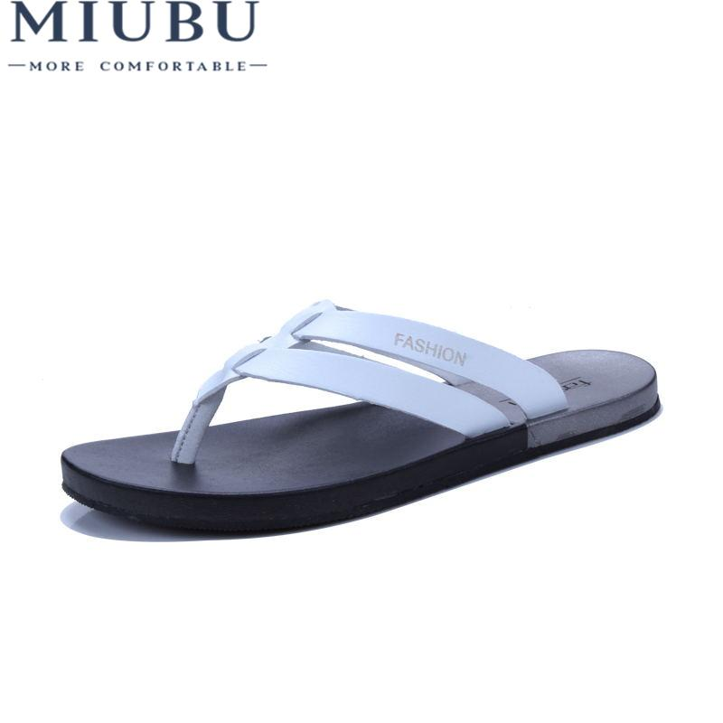 3214d23694f017 Wholesale New Summer Men Genuine Leather Flip Flops Fashion Soft And  Comfortable Beach Sandals Slippers Online with  40.05 Pair on Baby107 s  Store