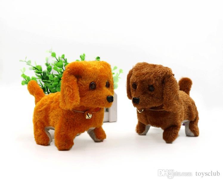 Elektronische Hunde Kinder Kinder Interaktive Elektronische Haustiere Puppe Plüsch Hals Glocke Walking Bellen Elektronische Hundespielzeug Weihnachtsgeschenk