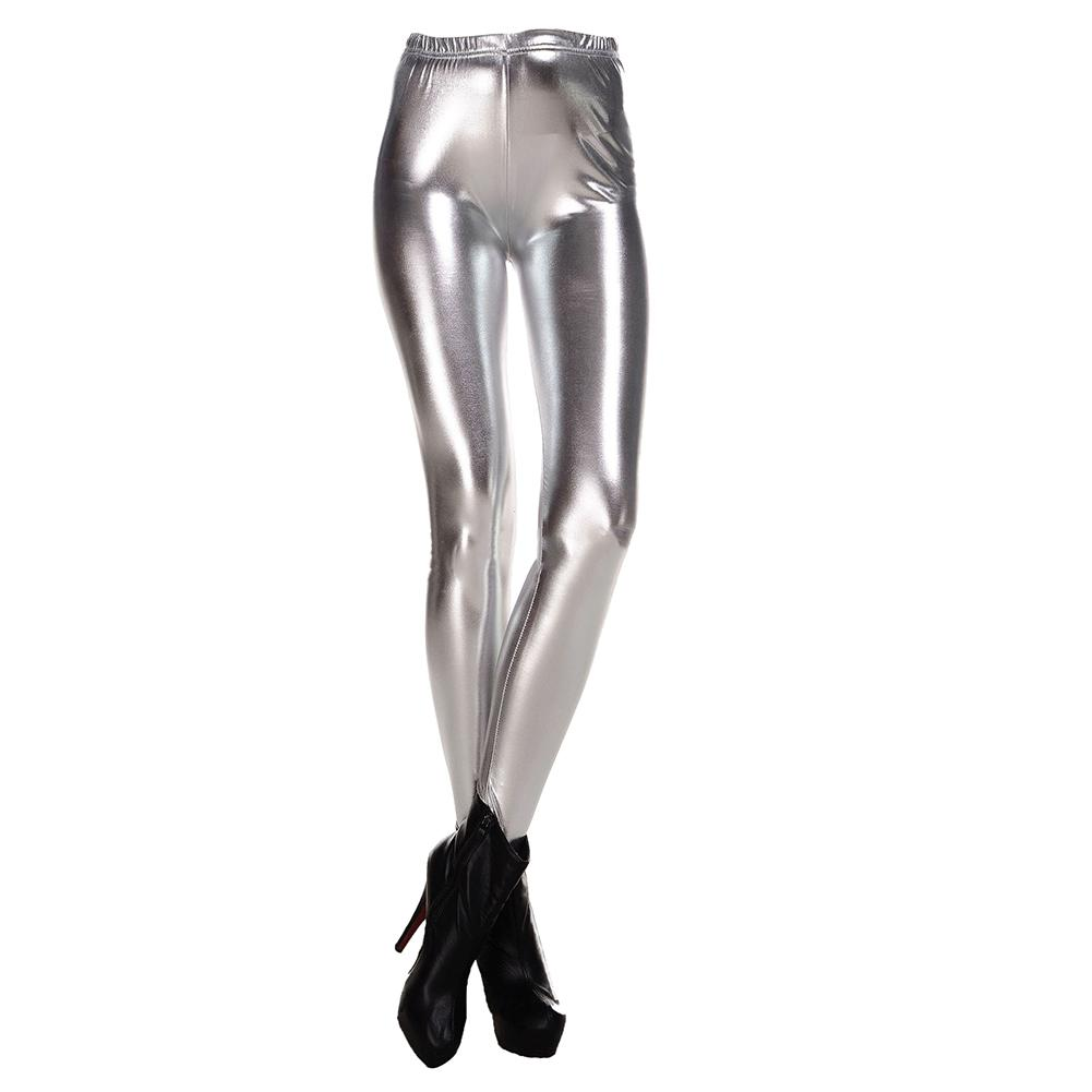 52af5f8e0f4a2 2019 New Fashion Women Leggings Shiny Metallic Color Elastic Waist Skinny  Sexy Pencil Pants Trousers Casual Pencil Trousers Silver M From Ppkk, ...