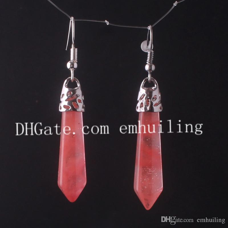 Natural Rock Crystal Terminated Point Spike Earrings Women's Hexagonal Pile Wicca Pagan Boho Metaphysical New Age Hippie Gemstone Earrings