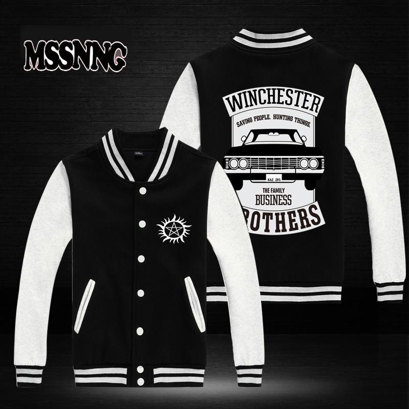 ff126d6b USA SIZE New Fashion MSSNNG Clothing Baseball Jacket Winchester Brothers  Supernatural Design Men Sweatshirt Varsity Jackets Jackets Coats Mens Jean  Coat ...