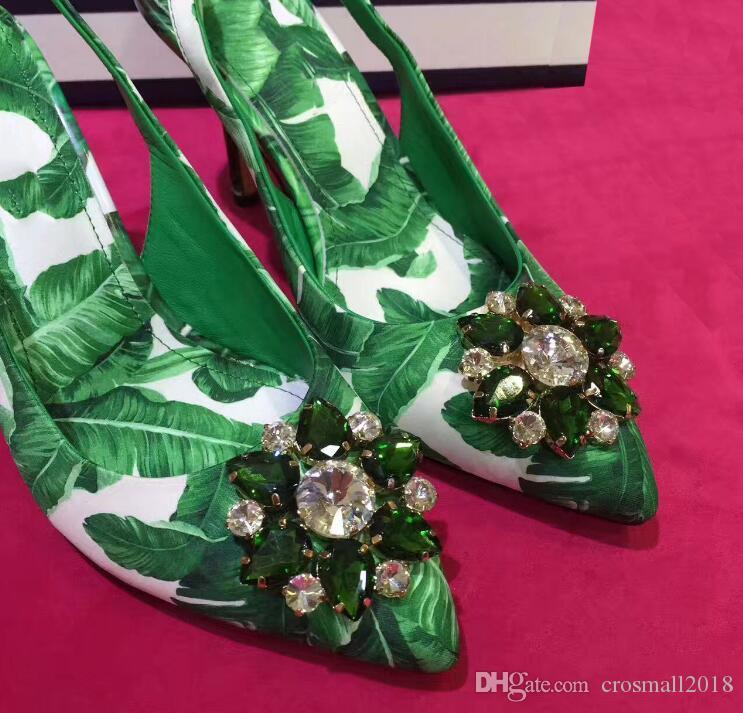 Apontou toes Sandálias das Mulheres de Salto Alto Impresso Vestido Verde sapatos de Strass Patchwork stiletto fivela Feminina Bombas de Cinta de Volta