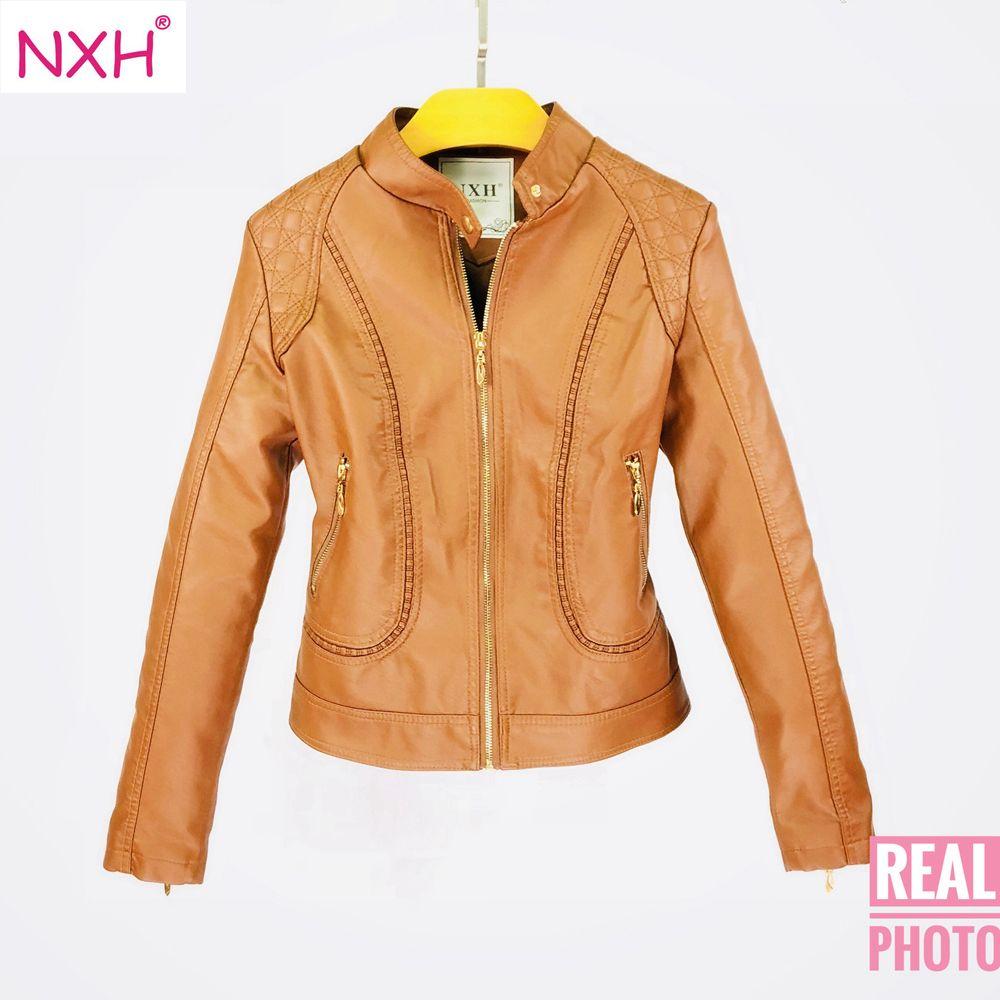 164e4d878da 2019 NXH 2018 Real Photo New Winter Autumn Good Quality Womens PU Leather  Jacket Ladies Slim Short Faux Soft Simple Streetwear Coat From Vikey13, ...