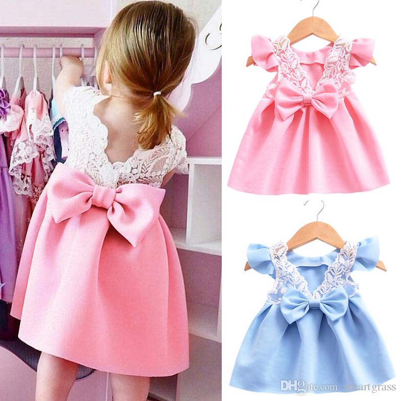 2018 New Arrival Fashion Baby Dresses Big Bow Knot Lace Back Girls