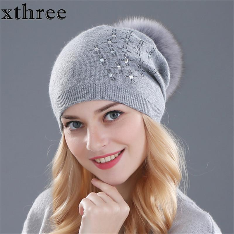 Xthree Women S Winter Hat Rabbit Fur Wool Knitted Hat Shining Rhinestone  The Female Of The Mink Hats For Women Beanies Cool Beanies Beanie Caps From  ... b54be45a43d2