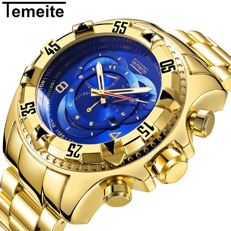 ca273ddcfab TEMEITE Mens Fashion Creative Big Dial Watch Luxury Gold Blue Full Steel  Quartz Wrist Watches Waterproof Male Relogio Masculino Masculino Masculinos  ...
