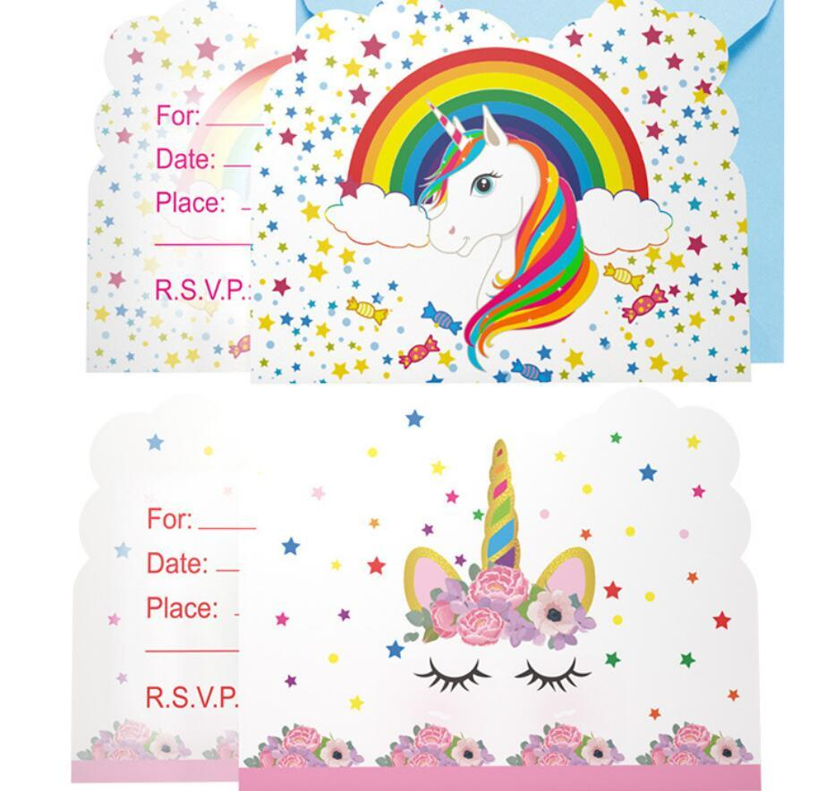 Unicorn Girls Happy Birthday Greeting Card Wedding Party Paper Cartoon Pattern Invitation Kids Toy Gift FFA777 Send A Via