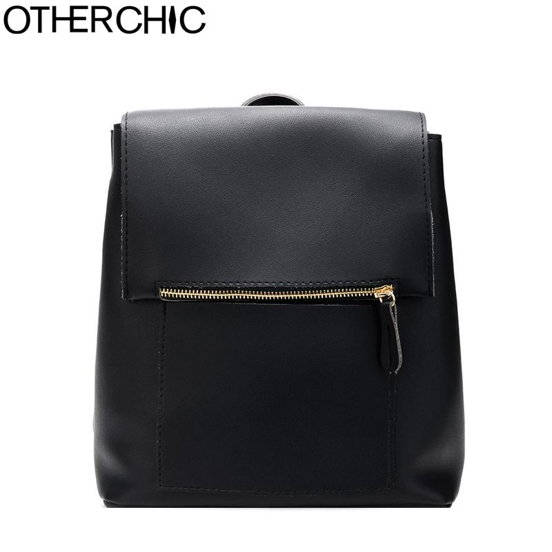 OTHERCHIC Simple Stylish Fashion Women Backpacks PU Leather Black School Shoulder  Bags Casual Daypack Sac A Dos 8N06 07 Backpacks For Girls Waterproof ... fffce7e2c5457