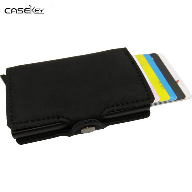 wholesale dealer 07426 3cc6c CaseKey Arrival New Men Blocking Rfid Wallet Mini Leather Business  Aluminium Holder Purse Automatic