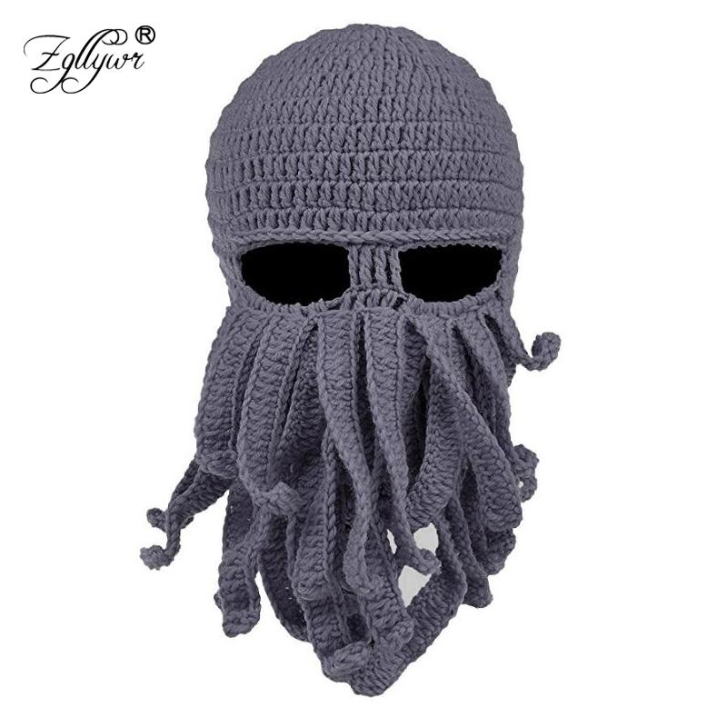 b03ff684e43c9 2019 Zgllywr Winter Face Mask Octopus Wool Hand Woven Mask Balaclavas Funny  Hat Knit Hat For Snow Windproof Warm Knitted Beanie From Hongmihoutao
