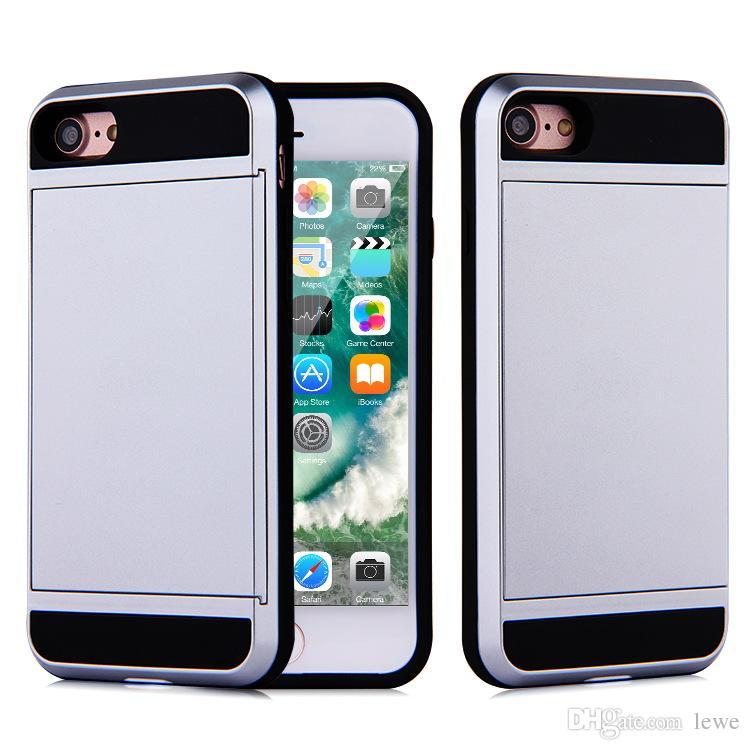 For Apple iPhone 7 plus 6 6S Plus Cell Phone Case with Slid Card Holder Mobile Back Cover Shell Protector Shockproof