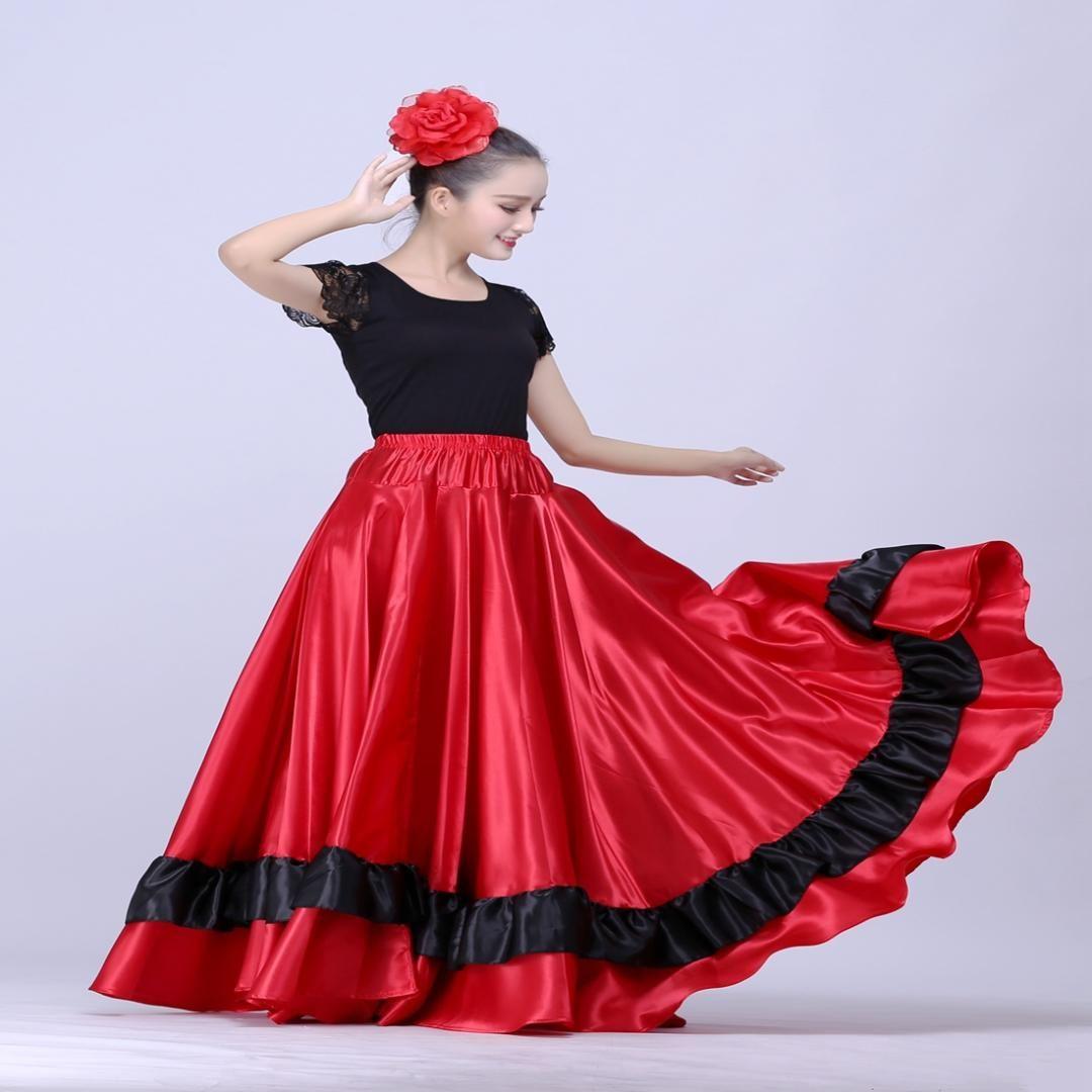 903653933 Falda de flamenco española Falda de danza del vientre Ropa española  Disfraces de baile Traje de Brasil Vestido de flamenco de Gypsy Ro