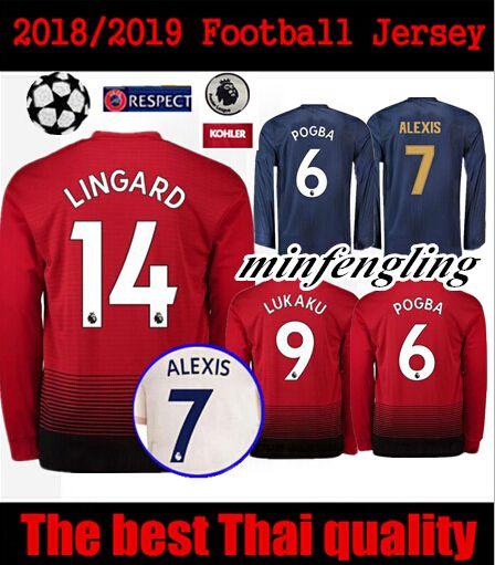 the best attitude db2d5 46e27 Best 18 19 manchester united long sleeve jersey lukaku pogba home alexis  2018 2019 Matic RASHFORD MATA FRED third football shirts top qualit