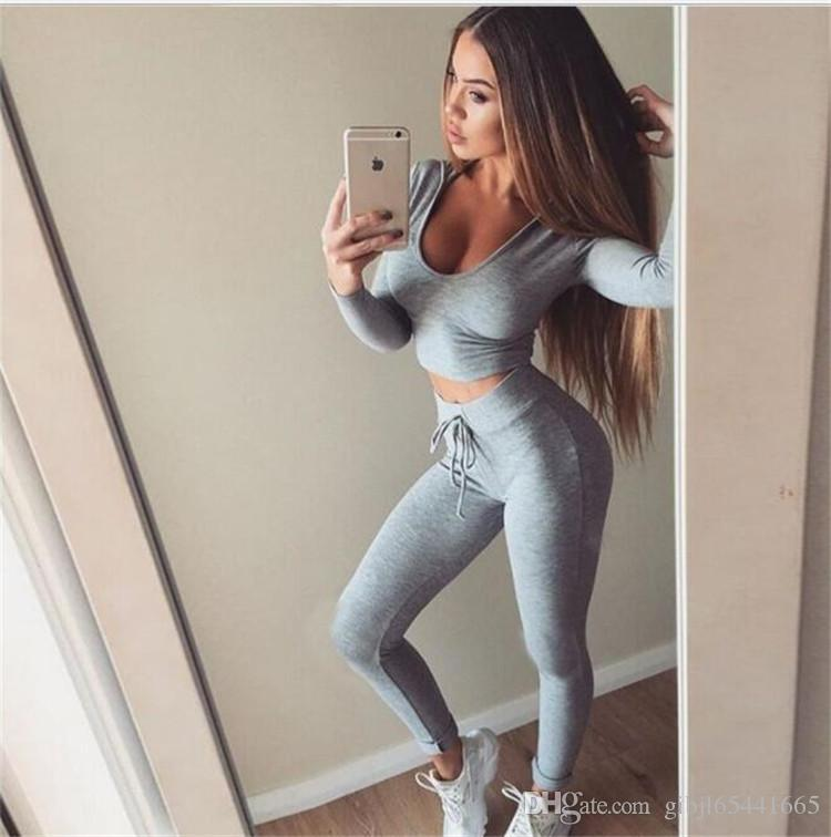 2019 Women Slim Fit Sexy Body Curve Tracksuit Scoop Neck Short Crop  Pullover With Leggings Pants Sport Suit From Gibjl65441665, $14.07 |  DHgate.Com