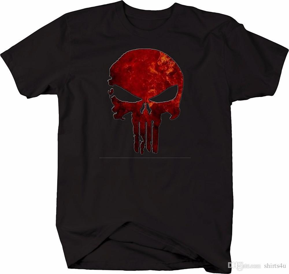 finest selection 62c7b 3fe92 T-shirt personalizzate online Punisher Skull Fire Burning Red T-shirt  Military Distressed T-shirt a manica corta in cotone 100% da uomo