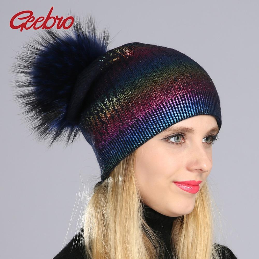 45dae6bae70b8 Geebro Women S Cashmere Beanies Hat With Raccoon Fur Pompon Winter Warm  Knitted Wool Slouchy Beanies Hat Femme Skullies Beanies Trucker Hats Winter  Hats ...
