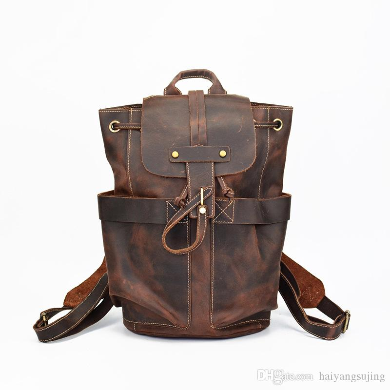 b004147f4ac 100% Genuine Leather Backpack Men Bag Retro Travel Backpacks Crazy Horse  School Weekend Bags High Quality Woman Outdoor Shoulder Packs Handbag Bolsa  ...