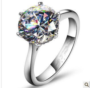 15c5cc58f7ec Compre 4 Carat Solitario Ronda Calidad Diamantes Sintéticos Matrimonio  Anillo Sólido Anillo De Compromiso De Plata Esterlina Regalo De Cumpleaños  De La ...