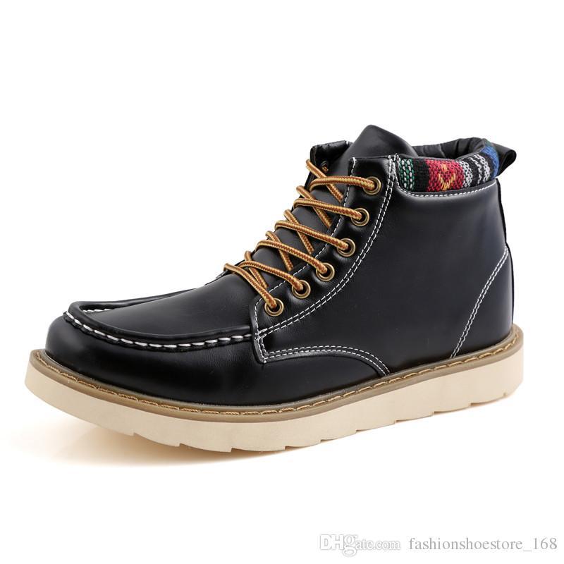 afb825122c2 Compre Marca Para Hombre Botines Hombres Zapatos Casuales 2018 Primavera  Otoño Cuero Amarillo Alta Calidad Para Hombre Botas Con Cordones Zapatos De  Trabajo ...