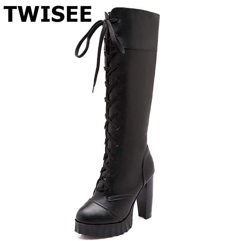 c99b1ebaf9 Compre Joelho Botas De Cano Alto Novo Estilo Zapatos Mujer Cruz Bombas  Amarradas Moda Mulher Partido Sapatos Dedo Do Pé Redondo Rendas Até Saltos  De Espiga ...