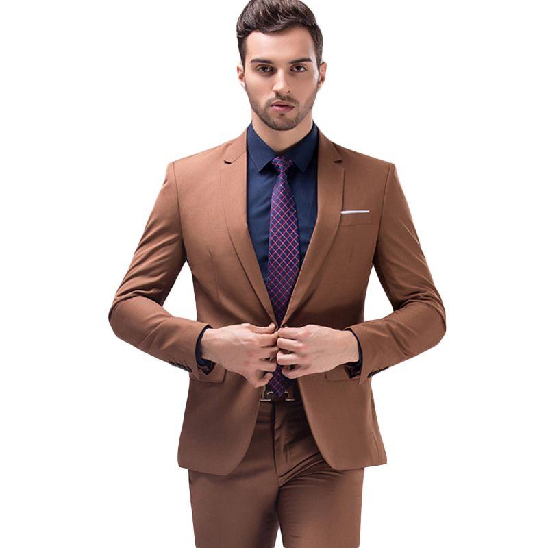 Compre Chaqueta + Pantalones Marrón Verde Borgoña Negro Rosa Trajes Hombres  2018 Marca Slim Fit Novio Traje De Boda Fiesta De La Moda Coreana Prom Wear  A ... d5729aaff43