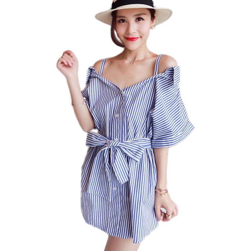 0fa29c97d5e Off Shoulder Blue and White Stripes Shirt V Neck Silm Sashes Bow Mid-long  Striped Shirt Women\'s Shirts Button S-2XL
