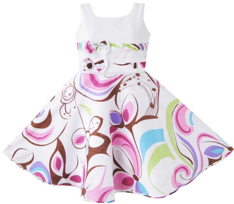 Mädchen Kleid Lila Paisley Blume Doppel Fliege Kinder Kleidung Größe 2017 Sommer Prinzessin Hochzeit Kleider Kleider Größe 4-12