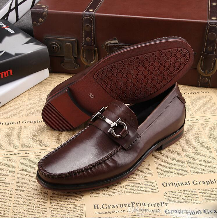 Fashion Mens Office Dress Dhoes Genuine Leather Breathable Italian Designer Men Work Shoes Flats Suit for Party Size 45 stock