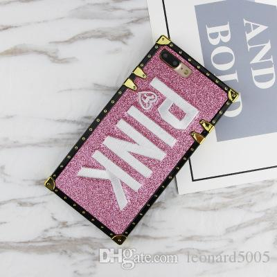 Hot embroidery PINK glitter Soft silicon cover cases for iphone 6 S 6S plus 7 7plus 8 8plus X Shiny Pet dog Blinking phone cases