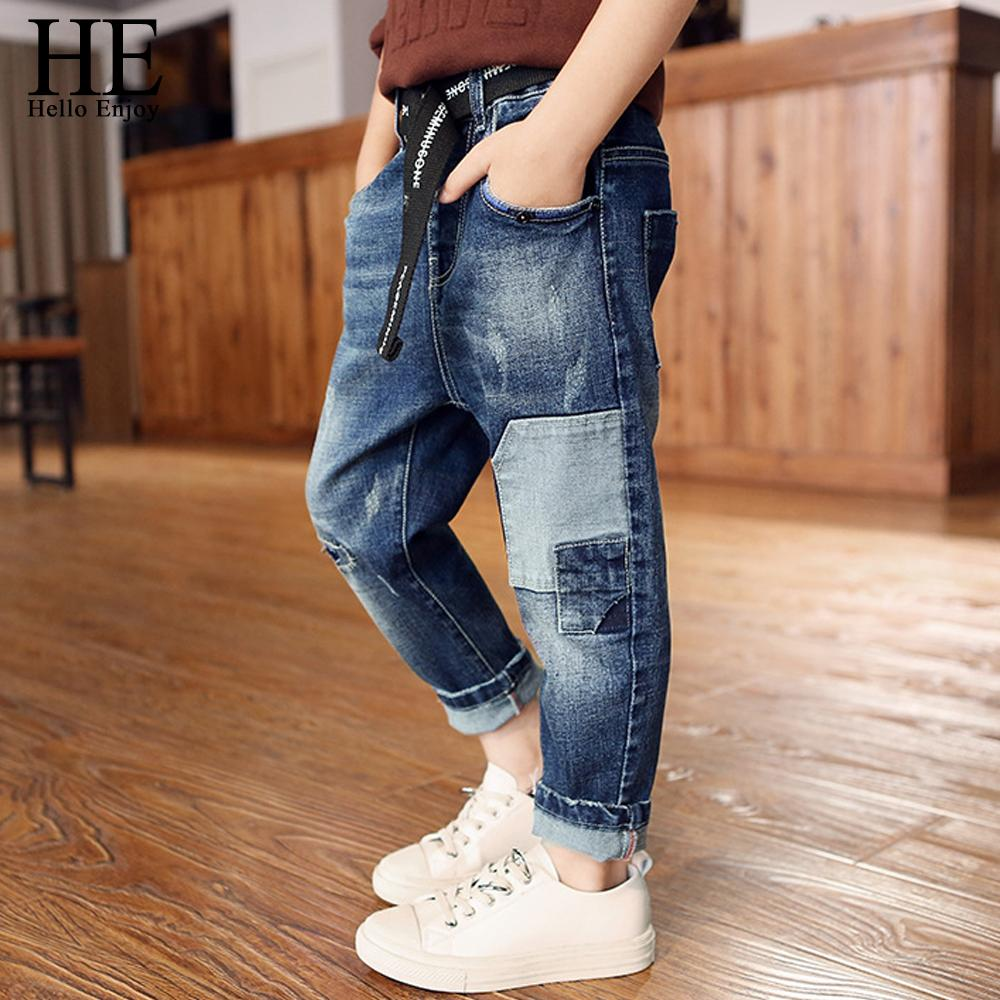children jeans kids spring autumn boys pants hole patchwork ripped denim jean trousers kids clothes for boys teenagers 4-12 year