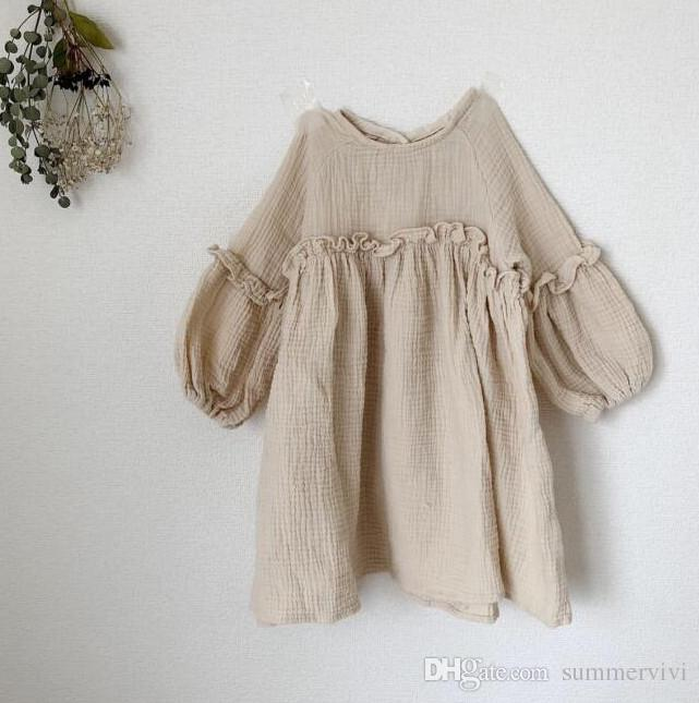 ab16743a6979 2019 Girls Cotton Linen Dress Autumn New Children Ruffle Puff Long Sleeve A  Line Dress Kids Cotton Clothing INS Girls Dresses A01121 From Summervivi