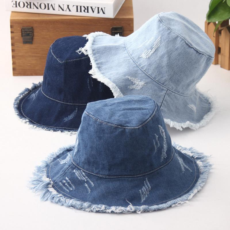 2018 new Bucket hat all-match retro denim sanding visor casual wash cloth fashion unisex couple Bucket hat fisherman hat