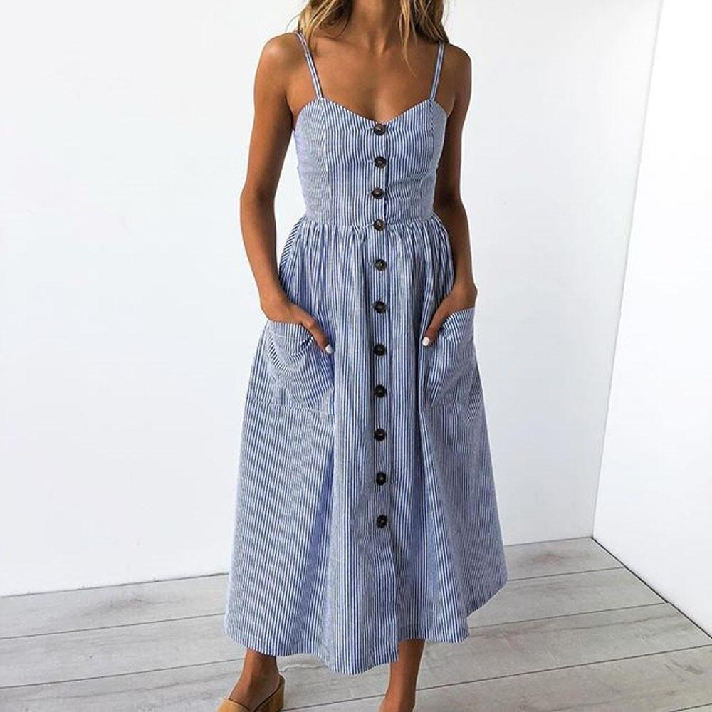 9326442a7a218 FeiTong Sexy v neck print summer dress Women sleeveless boho casual midi  dress Female 2018 Stripe long dress vestidos SunflowerY1882302