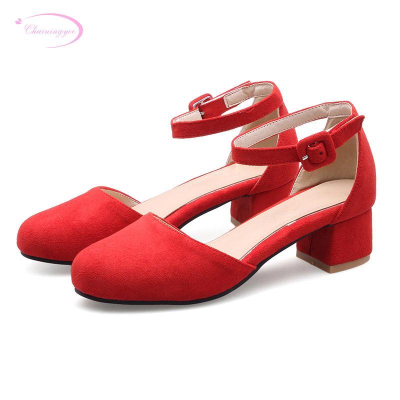 Sandales Boucle Femmes Style Noir Rouge Jaune Talons Bout D'été De Décontracté Rond Ceinture Vert Chaussures À Gros Confortable Med K1FclJ