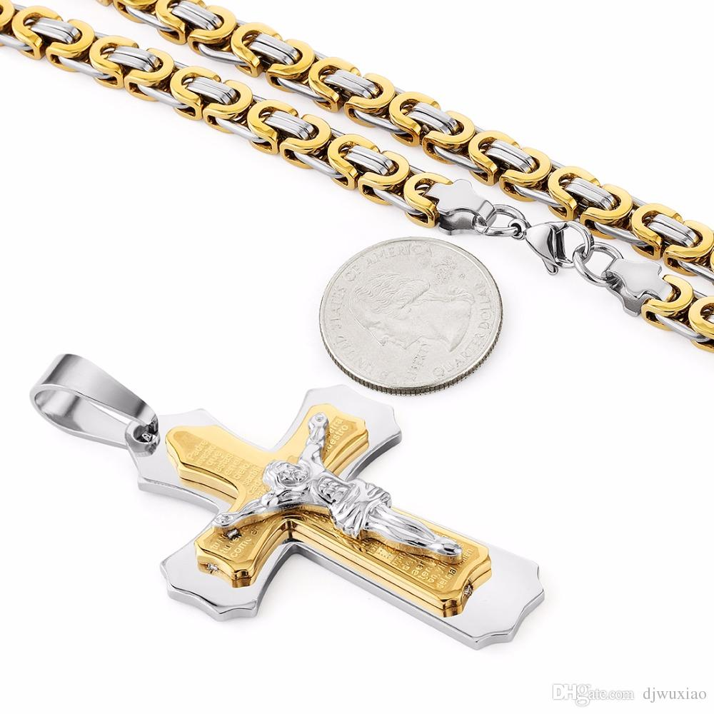 High Quality Multilayer Cross Christ Jesus Pendant Necklace Stainless Steel Link Byzantine Chain Heavy Men Jewelry Gift