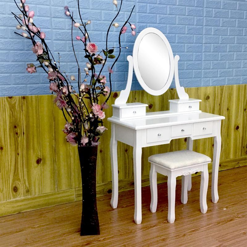 2019 Wooden Dressing Table Makeup Desk With Stool Oval Rotation
