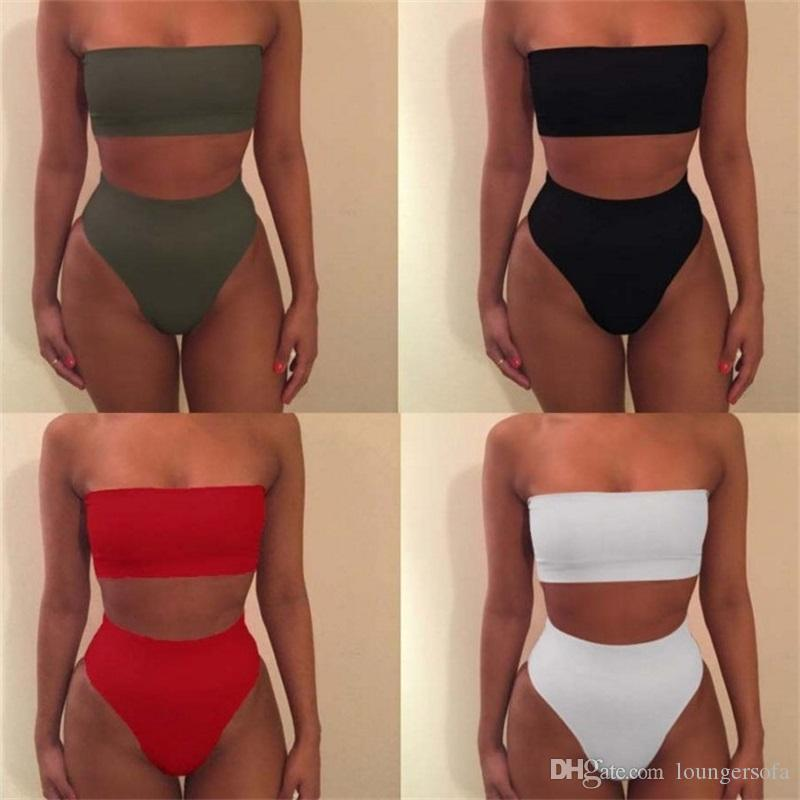beda7736975 2019 Beach Swimwear High Waist Two Piece Suits Woman Swimsuit Lady Bikini  Femme Bodysuit Swimming Boob Tube Top Bathing 6wj V From Loungersofa, ...