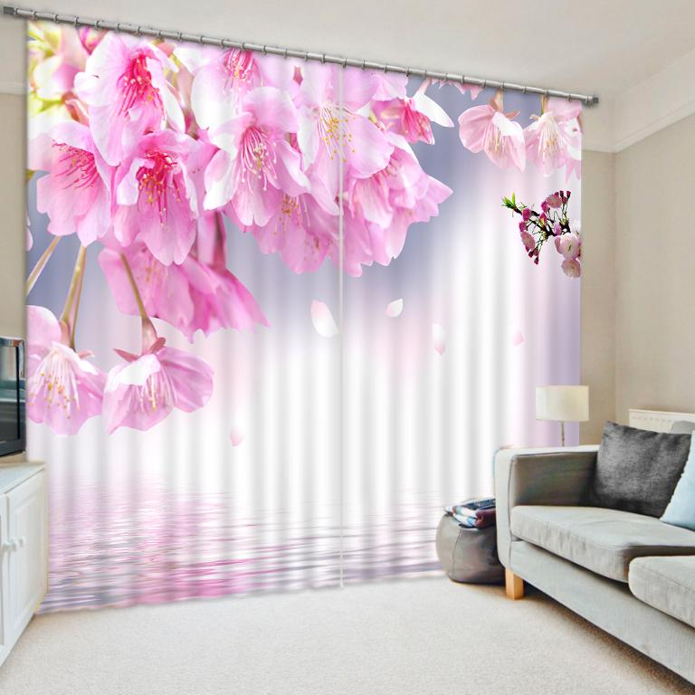 2019 Pink Flower Curtains Printing Window Curtains For Living Room