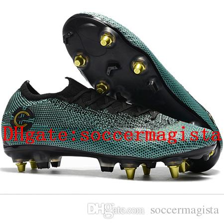 ffb4278b586 2018 Mens Soccer Cleats Mercurial Superfly VI Elite Sg Football Boots Cr7  Neymar Soccer Shoes Chuteiras High Ankle Botas De Futbol Black New Kids  Winter ...