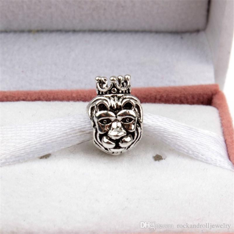Promoción Nueva Llegada Animal King Lion Charm Para Pandora Pulsera de la Cadena de Serpiente O Collar de Joyería de Moda de Perlas Sueltas